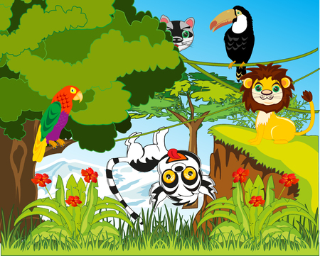 Green jungle and their inhabitants vector illustration