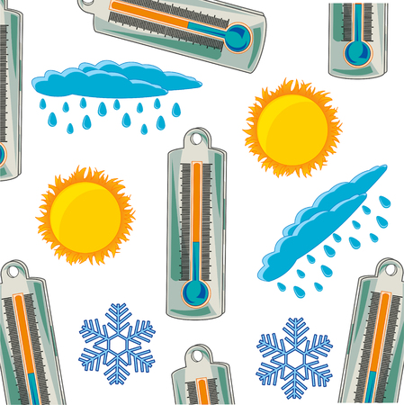 Vector illustration of the pattern from thermometer and varied weather Illusztráció