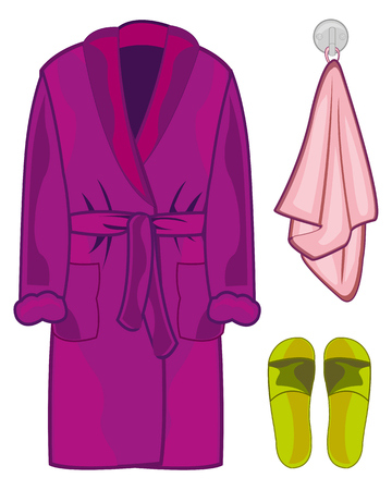 Vector illustration of the home robe with slippers and towel