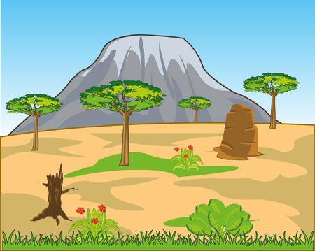 Landscape to terrain savannah and big mountain on horizon