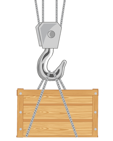 Wooden box with cargo on hook of the tap Иллюстрация