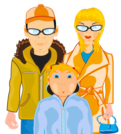 Household pair with child teenager on white background