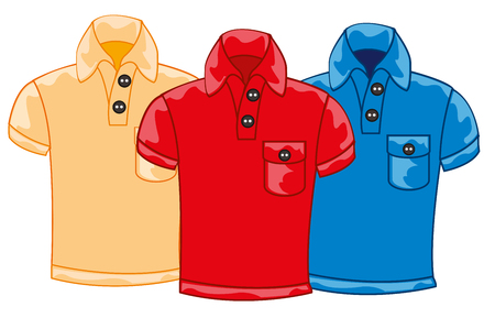 Vector illustration three male shirts red,blue and sulphur of the colour