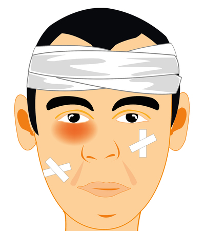 Man with rebandaged by head and bruise on person