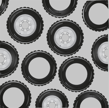 Vector illustration of the pattern travell about and rubbers car on gray background Çizim