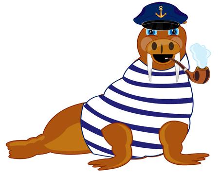 Cartoon animal walrus in form of the sea captain Ilustracja