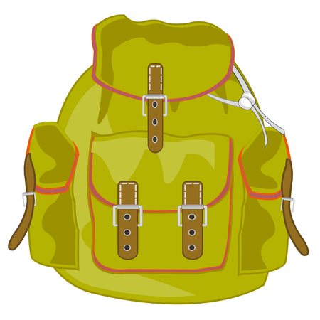 Backpack of the tourist on white background is insulated
