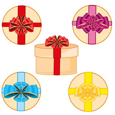 Vector illustration round box gift decorated bow of the varied colour Illusztráció
