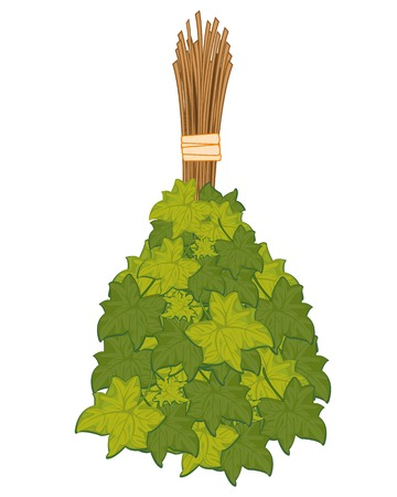 Vector illustration of the besom from foliage for washing in bath