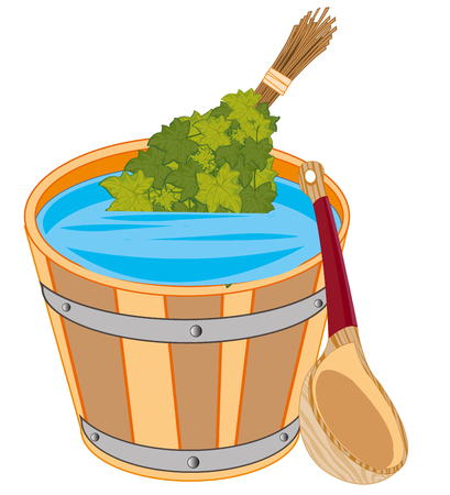 Vector illustration to capacities with water and besom from foliage for bank