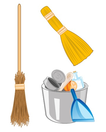 Vector illustration full pail with rubbish and besom with broom