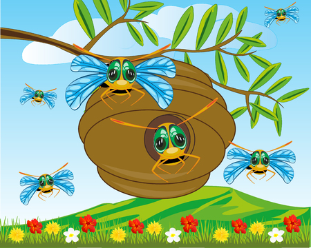 Vector illustration jack insect bee on green branch tree