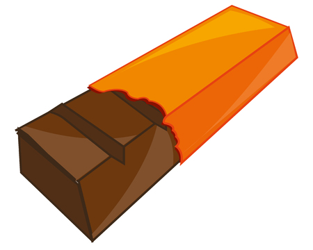 Vector illustration of the bar of chocolate in torn packing