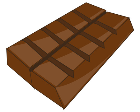 Vector illustration of the bar of black chocolate on white background