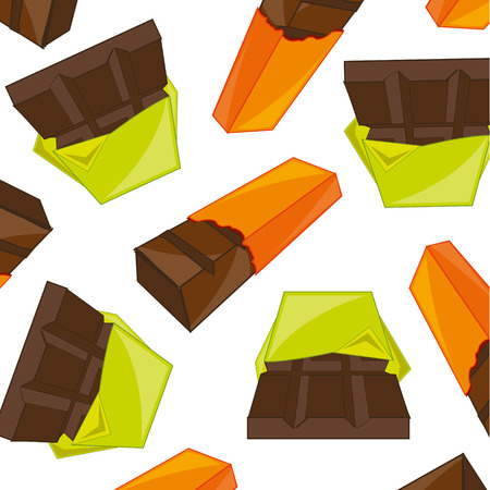 Vector illustration of the decorative pattern from chocolate bars on white background