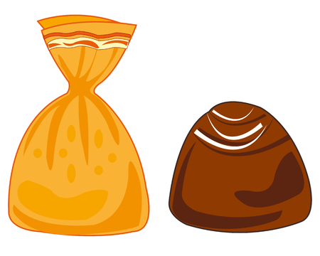 Vector illustration of the chocolate sweetmeat on white background is insulated