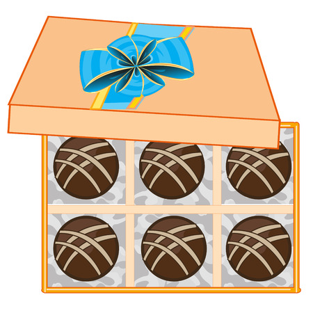 Chocolate sweetmeats in box on white background is insulated