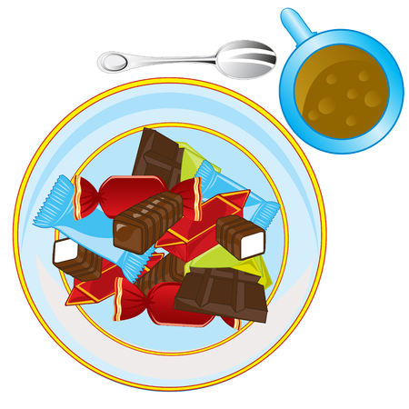 Sweetmeats and chocolate on plate and cup of tea