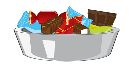 Sweetmeats and chocolate in plate on white background is insulated