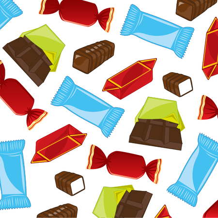 Ensemble of the varied sweetmeats and chocolate on white background pattern Stock Illustratie