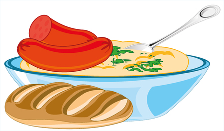 Hot dish sausage with mashed potatoes and long loaf of bread Çizim