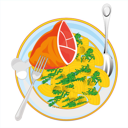 Vector illustration meat dish on plate noodle and ham