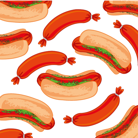 Vector illustration of the pattern from hot dog on white background Иллюстрация