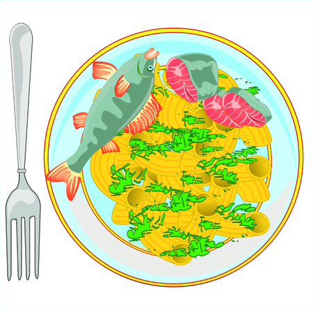Plate with noodle and fish on white background is insulated