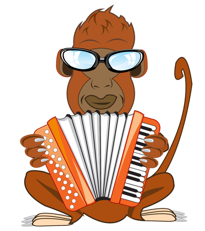 Cartoon ape with accordeon on white background is insulated