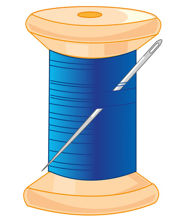 Wooden spool with blue thread and needle on white background is insulated