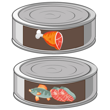 Fish and canned food in bank from gestures Stock Illustratie