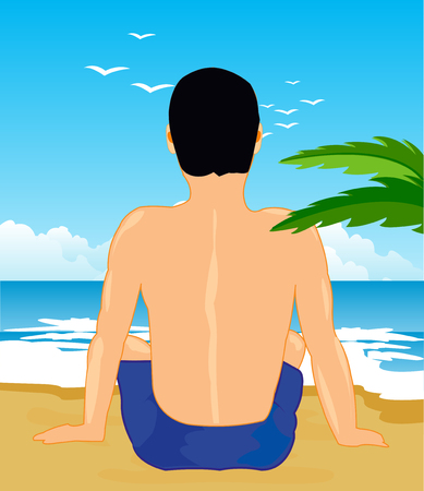 Tropical coast with beach and lonesome sitting man