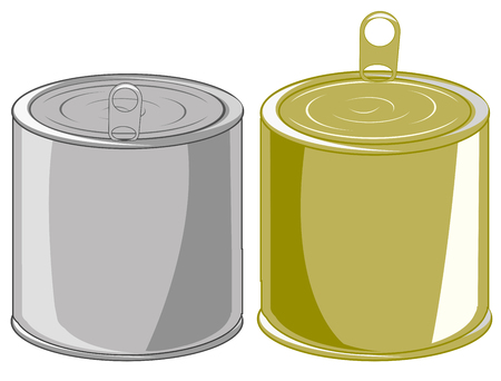 Vector illustration two closed iron canned food Ilustração