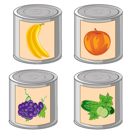 Vector illustration closed iron bank with compote from fruit and vegetables