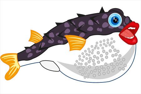 Vector illustration of the cartoon of exotic fish fugue Illustration