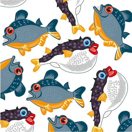 Vector illustration of the decorative background with dangerous and poisonous fish on white background Ilustração
