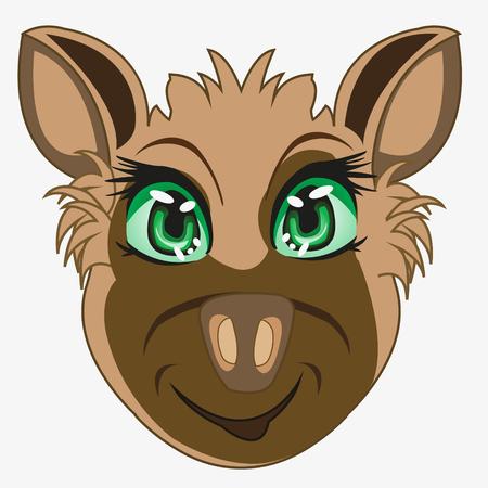 Cartoon of the mug hyena on white background is insulated