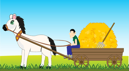 Vector illustration of the farmer on horse cart with hay Stock Illustratie