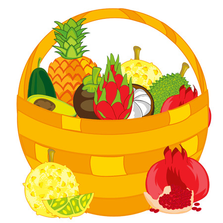 Braided basket with exotic fruit on white background is insulated