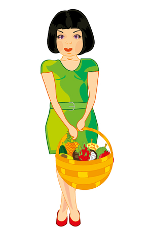 Vector illustration of the young girl with braided basket full exotic fruit Stock Illustratie