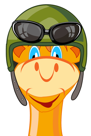 Vector illustration of the cartoon of the mug of the camel in defensive helmet