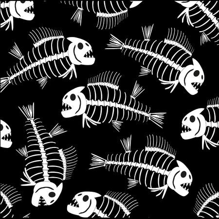 Skeleton of fish pattern on black background is insulated Ilustração