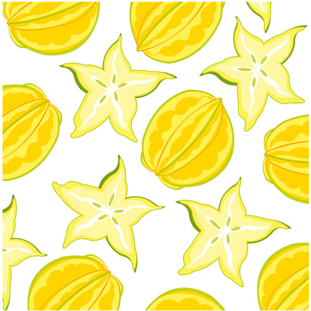 Vector illustration of the decorative pattern from exotic fruit carambola