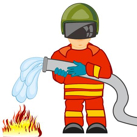 Fireman in worker defensive suit extinguish fire