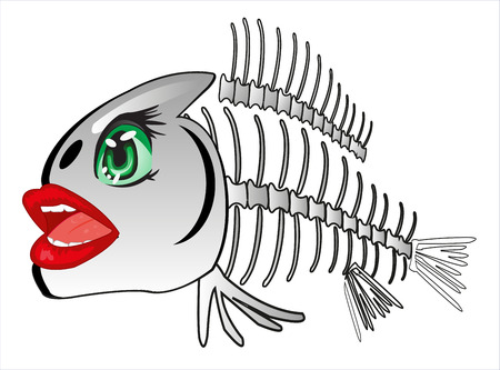 Cartoon of the skeleton of fish on white background is insulated