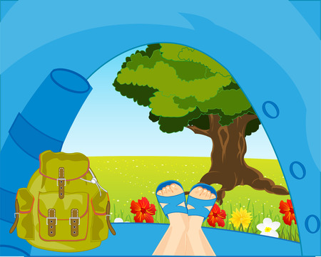 Vector illustration of the tourist tent and beautiful type of the nature from tent