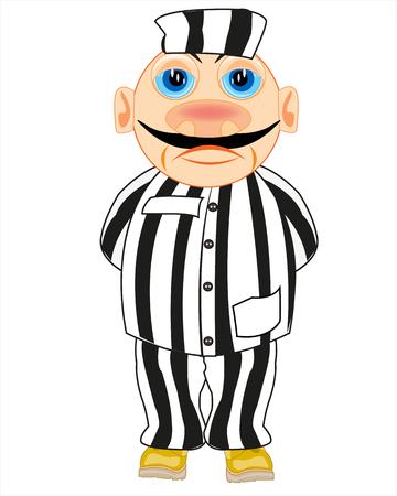 Vector illustration of the cartoon men prisoner in striped cloth Standard-Bild - 124746300