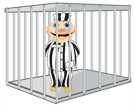 Man prisoner in iron hutch on white background is insulated