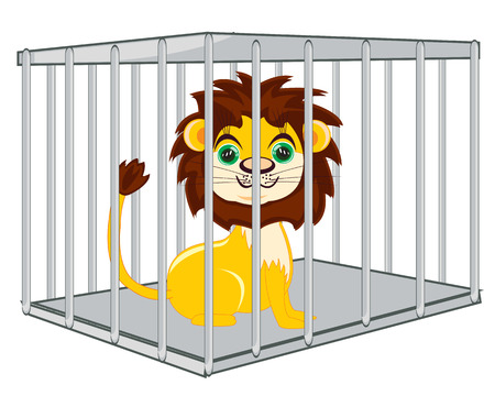Animal lion in iron hutch on white background is insulated Ilustração
