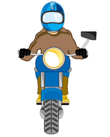 Vector illustration men in defensive send on motorcycle Ilustração
